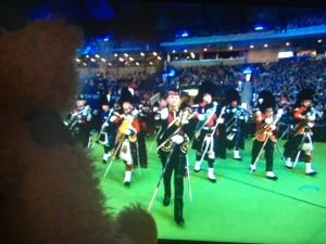 Baxterbear watching the Royal Edinburgh Military Tattoo at closing ceremony of Glasgow 2014