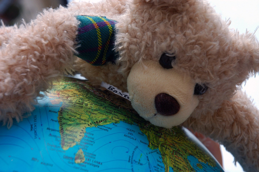 Baxterbear-around-world-globe