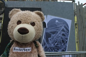 Baxterbear outside Hidden Door Festival
