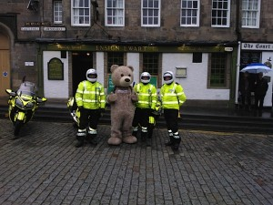 Great day made new friends in the Grassmarket ,Edinburgh, Baxterbear with Police Scotland Edinburgh