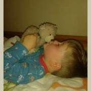 Baxterbear and one little Soldier in bed
