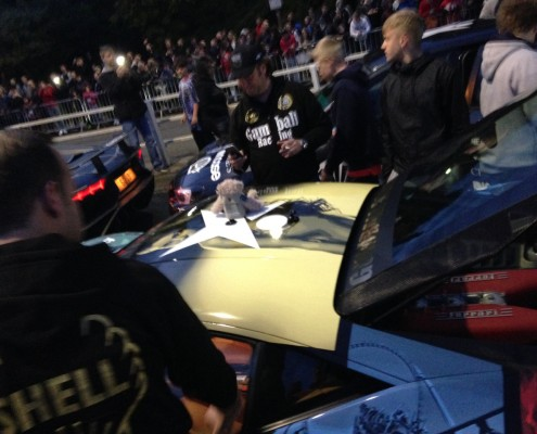 Baxterbear at the Gumball 3000 with team Skjerven Racing posing with David Hoffman's Audi