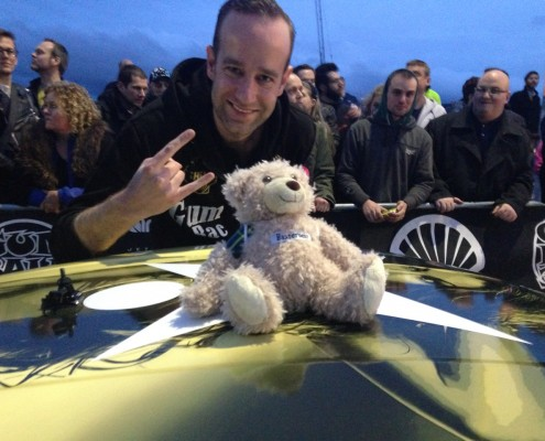 Baxterbear at the Gumball 3000 with Alexander J.J Punt from team Skjerven Racing